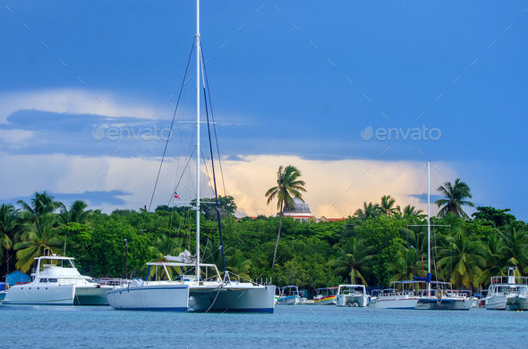 Sailing yachts in the dock on island of Saona - Stock Photo - Images