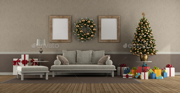Living room in classic style with sofa, Christmas tree and gift - 3d  rendering