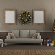 Living room in classic style with sofa, Christmas tree and gift - 3d rendering - PhotoDune Item for Sale