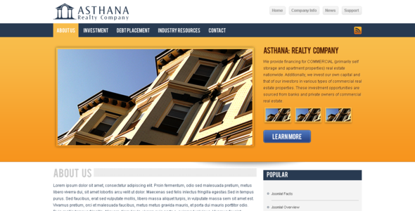 Asthana Realty Joomla! Template - Business Corporate