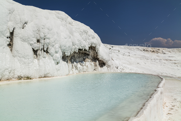 Beautiful views of the natural travertine pools and terraces, Pa - Stock Photo - Images
