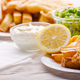 Traditional British street food fish and chips with tartar sauce - PhotoDune Item for Sale