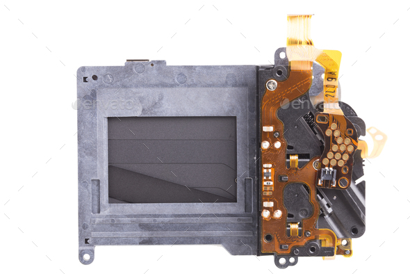 Shutter mechanism of a photographic camera. Close-up. Isolated on a white background. - Stock Photo - Images