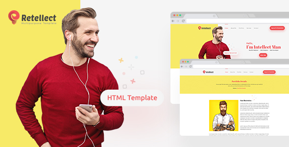 Retellect - Personal Portfolio HTML Template by Ingenious_Team