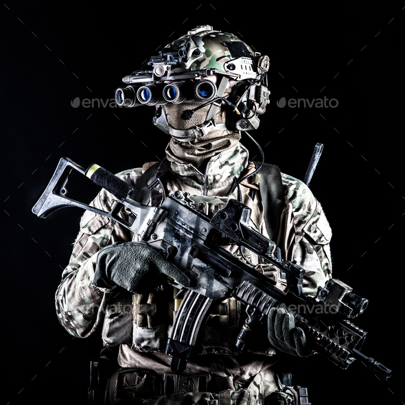 Marine rider with rifle and night vision goggles - Stock Photo - Images