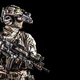 Soldier in night vision device on black background - PhotoDune Item for Sale