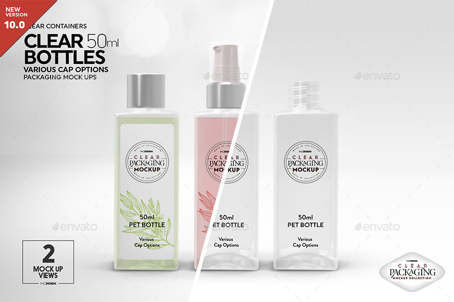 Clear 50ml Square PET Bottles Packaging Mockup