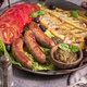 Sausages on metal tray - PhotoDune Item for Sale