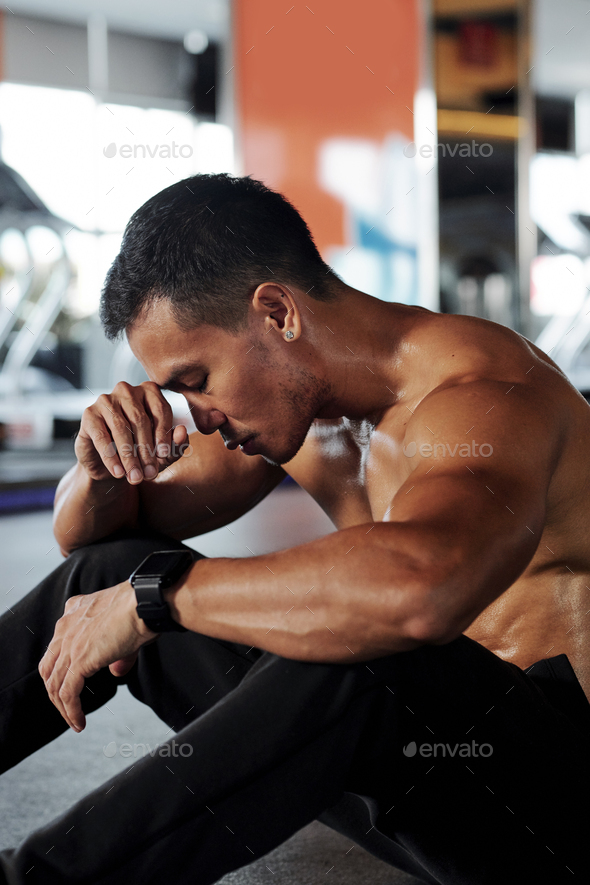 Exhausted sportsman - Stock Photo - Images