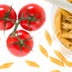 Uncooked raw italian pasta with tomatoes - PhotoDune Item for Sale