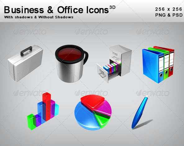 3D Business & Office Icons - Business Icons