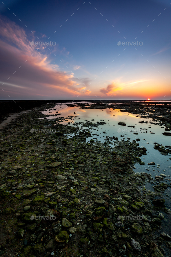 Beach of the Corrales,  fish pens, of Rota, Cadiz, Spain - Stock Photo - Images