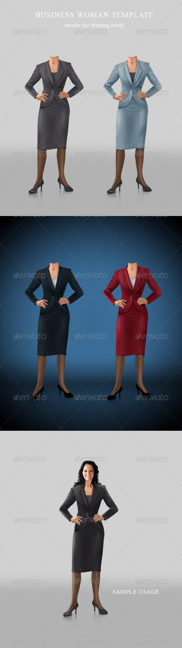 Confident businesswoman template - Business Illustrations