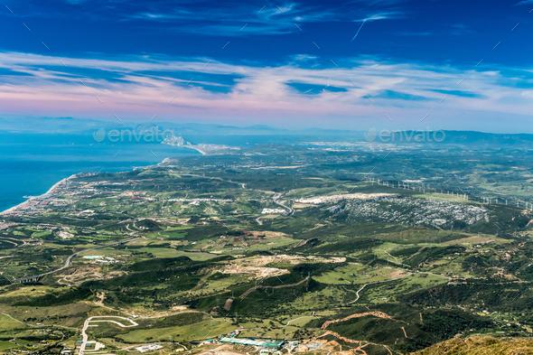 The Strait of Gibraltar from Sierra Bermeja - Stock Photo - Images