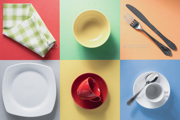 kitchenware at colorful background - Stock Photo - Images