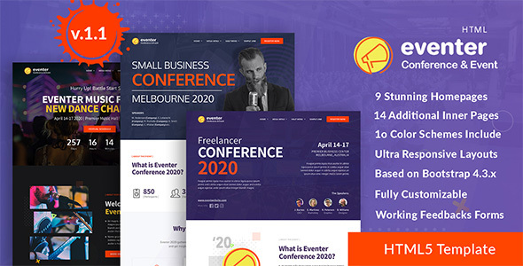 Eventer - Conference, Event and Meetup Landing Page Template by DSAThemes