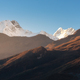 Beautiful mountains with snowy peaks at sunny morning in Nepal - PhotoDune Item for Sale