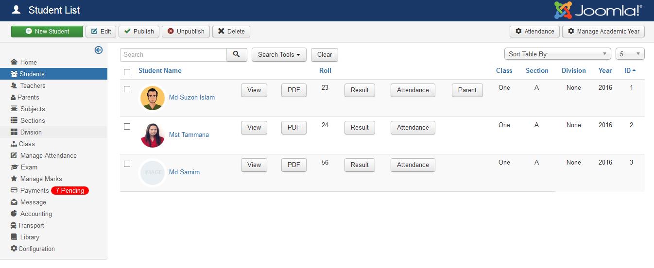 School Management System for Joomla