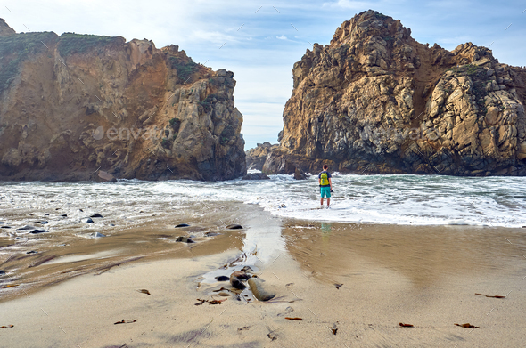 Man at Pfeiffer Beach, California - Stock Photo - Images
