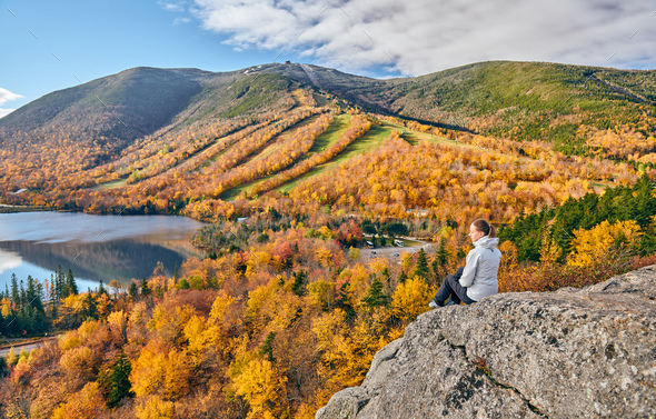 Woman hiking at Artist's Bluff in autumn - Stock Photo - Images