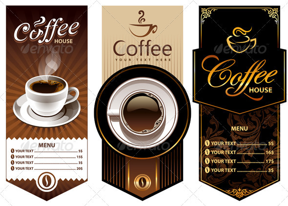 Three coffee design templates by vecster graphicriver for Coffee price list template