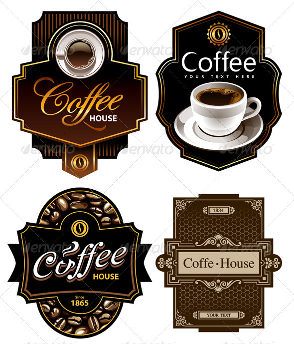 Four coffee design templates - Food Objects