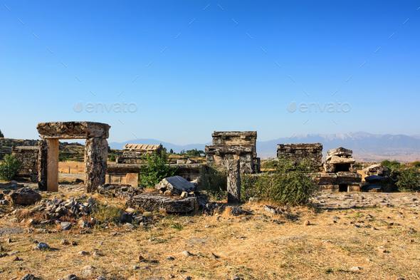 Nekropolis of Hierapolis ancient city view - Stock Photo - Images