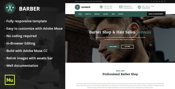 Responsive Barber Shop and Hair Salon Muse Template