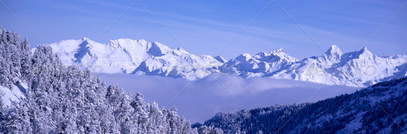 Winter Sunrise Over the Alps - Stock Photo - Images