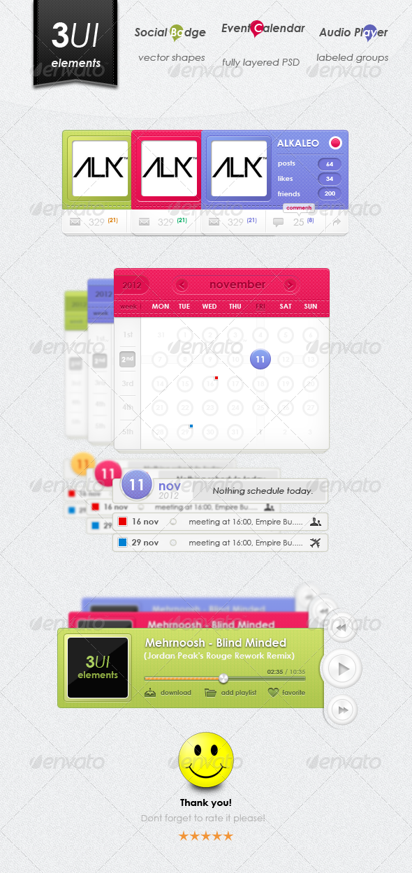 3UI Elements Design - Miscellaneous Web Elements