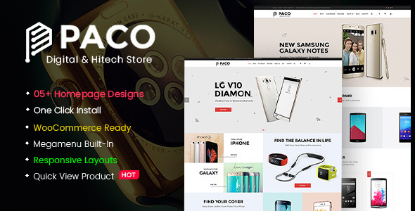 Paco - Responsive  Woocommerce WordPress Digital Theme