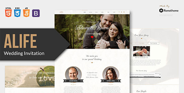 Alife - Wedding Invitation HTML Template by Rometheme