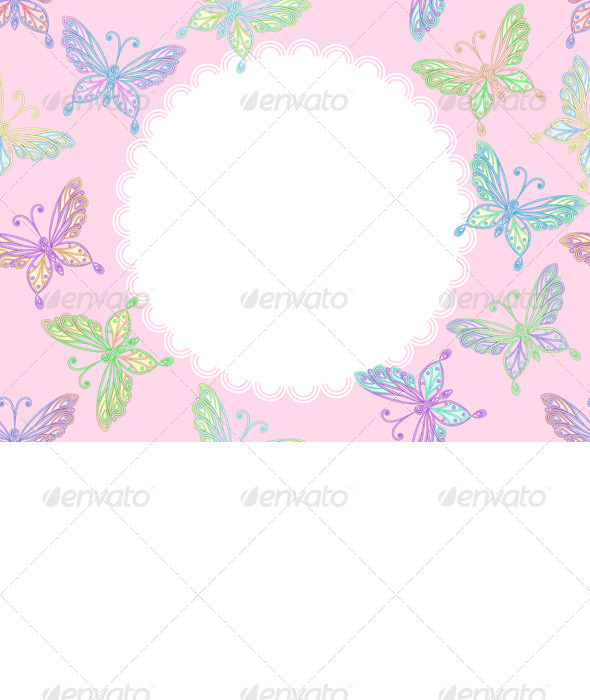 Vector pink floral lace frame with butterflies - Patterns Decorative