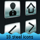 18 Steel Icons Package - GraphicRiver Item for Sale