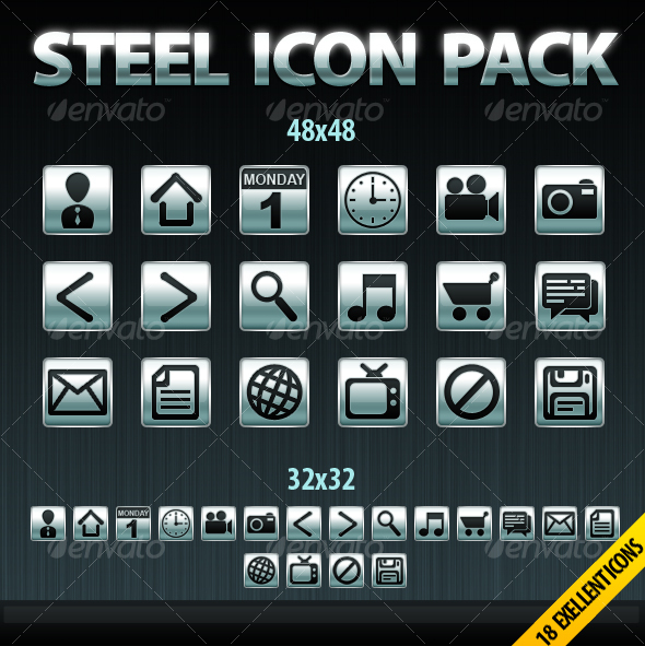 18 Steel Icons Package - Web Icons