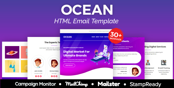 Ocean Agency - Multipurpose Responsive Email Template 30+ Modules -  Mailster & Mailchimp by AumFusion