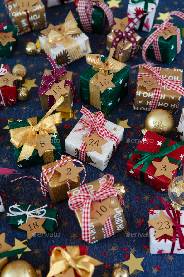 Gift wrapped presents for Christmas - Stock Photo - Images