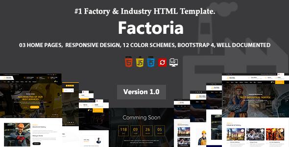 Factoria - Factory & Industry HTML Template by noor_tech