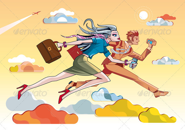Businesswoman And Businessman Running Orange - Business Conceptual