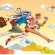 Businesswoman And Businessman Running Orange - GraphicRiver Item for Sale