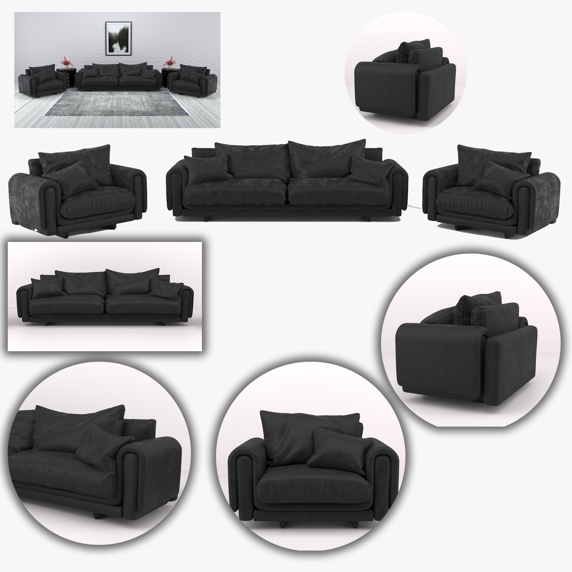 Black leather sofa and armchair furniture set