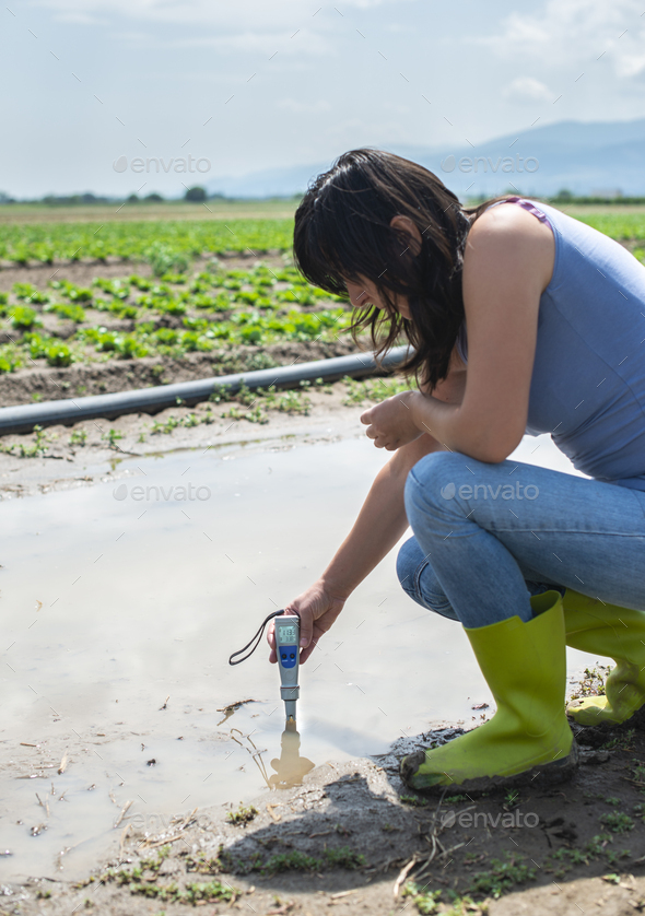 Woman mesures irrigation water with digital PH meter in water pu - Stock Photo - Images