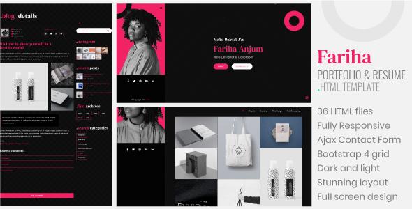 Fariha - Personal Portfolio & Resume HTML5 Template by weexen