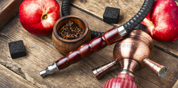 Hookah with nectarine flavor - Stock Photo - Images
