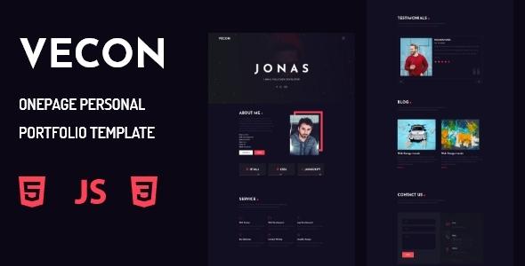 Vecon - Personal Portfolio OnePage Template by husain100b