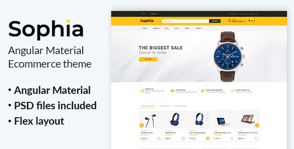 Sophia - Angular Material eCommerce Template
