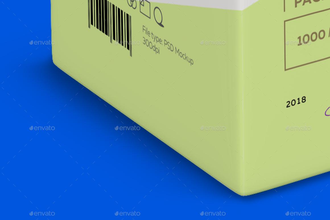 Mockup Package Tetra Brik Square 1l - Half Side View