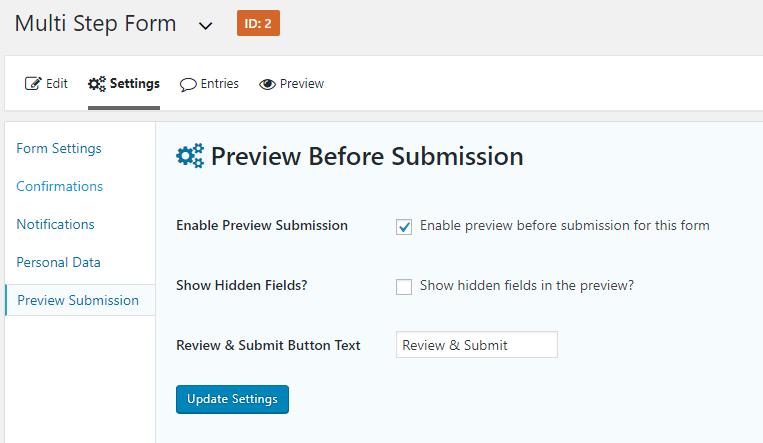 Gravity Forms Preview Submission Plugin