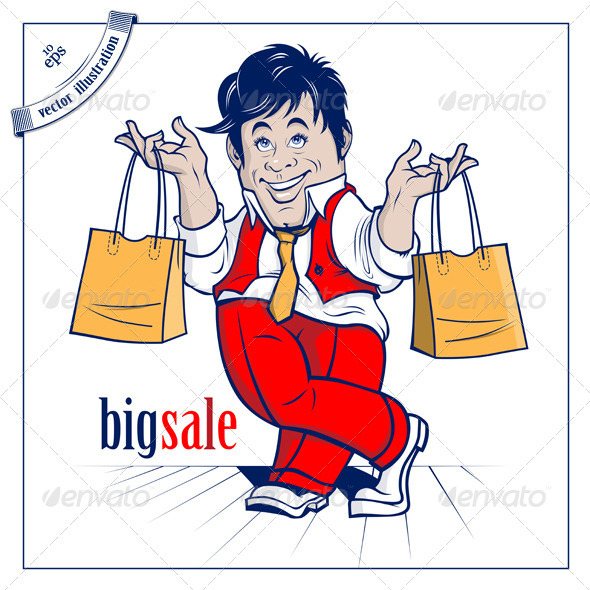 Cartoon Shopping Man. Big Sale  - People Characters
