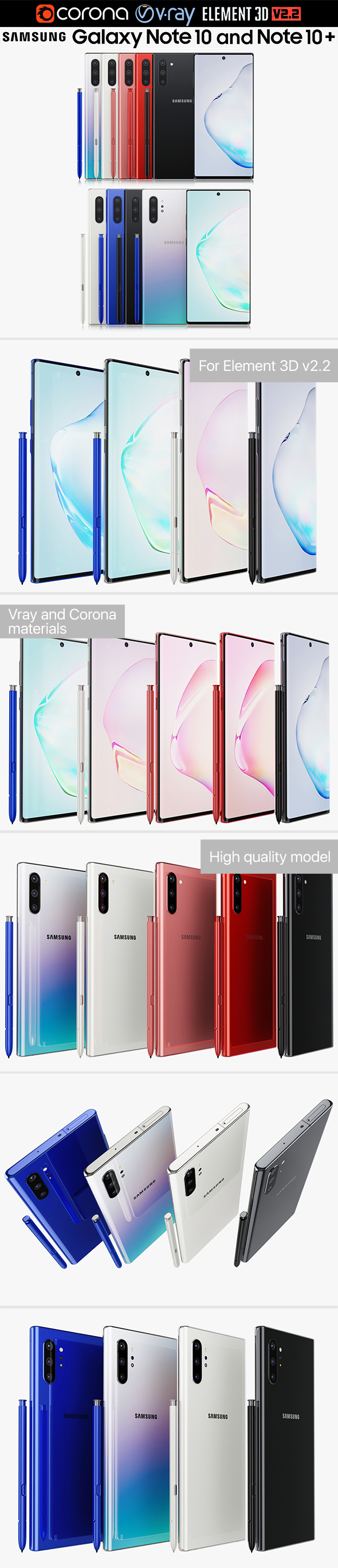 Samsung Galaxy Note 10 and Note 10 Plus All colors